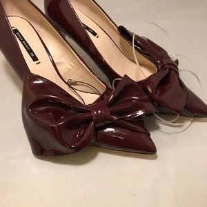 Zara Burgundy Bow Pumps